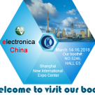 Welcome to visit our booth  5246, Hall5, Electrinica China at March 14-16, 2018.